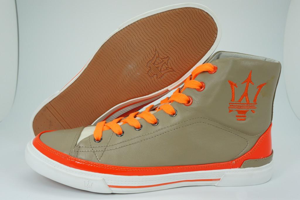 Maserati棕橘色皮革高統時尚駕車鞋_$3,680