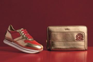 HOGAN 2016猴年限定刺繡系列 - (左)金屬皮革拼接亮紅色麂皮繫帶休閒鞋$20,900; (右)金屬皮革手拿肩背兩用包$31,200