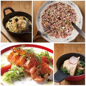 左上順時針依序為 [3]生蠔烘蛋 [2]生牛肉卡帕丘 [4]果香風味燉松阪豬 [1]炙燒鮭魚佐檸檬油醋醬