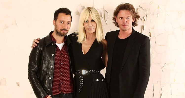 LONDON, ENGLAND - MAY 14:  (L-R) Antonio Vaccarello, Donatella Versace and Christopher Kane attend the Versus Versace Fall Winter Collection unveiling at The Old Brewery on May 14, 2015 in London, England.  (Photo by David M. Benett/Getty Images for Versace) *** Local Caption *** Donatella Versace; Antonio Vaccarello; Christopher Kane