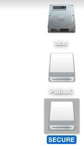 在Mac電腦上也能使用,一插入時2GB的PUBLIC磁區就會出現,待指紋確認後就可以看到加密過的SECURE磁區。