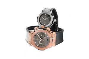 HUBLOT宇舶錶經典融合系列競速灰腕錶,有鈦金屬(計時款)、18K King Gold(計時款),33 mm至45 mm,售價NTD $185,500至NTD$1,026,000
