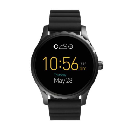 Fossil Q Marshal 觸控式螢幕配黑色矽膠錶帶(FTW2107),建議售價NT$10,500