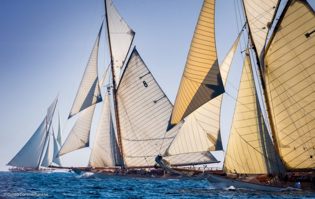 Cannes, France, 26 September 2014 Panerai Classic Yacht Challenge 2014 Regates Royales 2014 Moonbeam III, Moonbeam IV and Mariquita in the background Ph: Guido Cantini/Panerai/Sea&See.com
