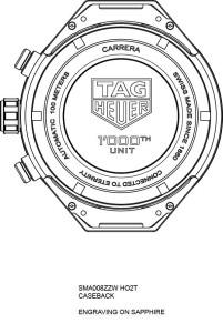TAG Heuer第1000枚COSC認證陀飛輪機芯的錶殼模組之錶背示意圖。