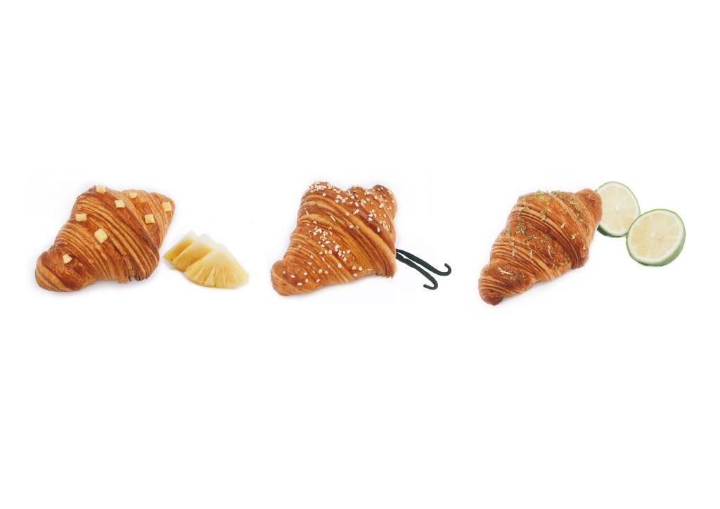 Gontran Cherrier夏日新品,由左至右:鳳梨泡芙可頌(台灣在地食材限定)、香草泡芙可頌、檸檬泡芙可頌。