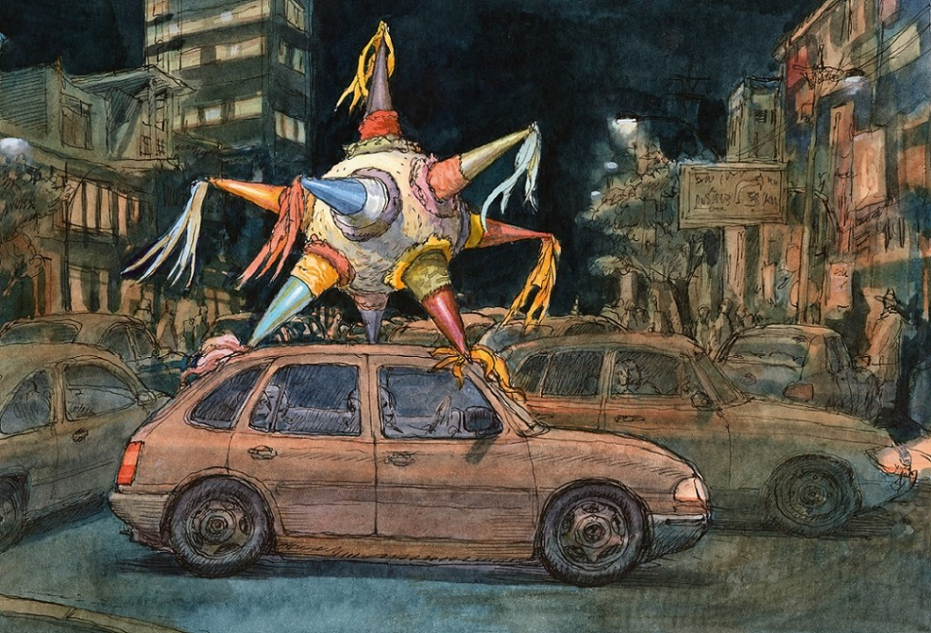 Louis Vuitton Travel Book Mexico, illustre par Nicolas de Crecy, 2017 : seven-pointed pinata beingtransported on the roof of a car
