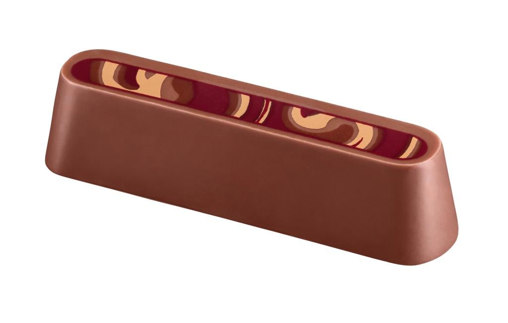咖啡味杏仁蓉加上焦糖芳香,細意混和香濃幼滑的牛奶咖啡巧克力醬,盛載於由頂級爪哇可可豆製成牛奶巧克力外殻中。