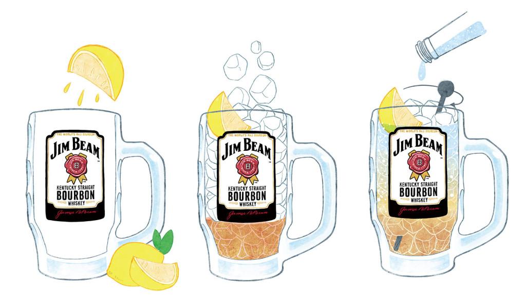 STEP 1.拿出事先冷藏好的杯子。先輕擠檸檬角至杯中,整片放入杯中。 STEP 2.倒入1/6杯的威士忌。杯子加滿冰塊,提升冰涼度。 STEP 3.最後倒滿事先冷藏的蘇打水至杯中,輕輕攪拌一次即完成。