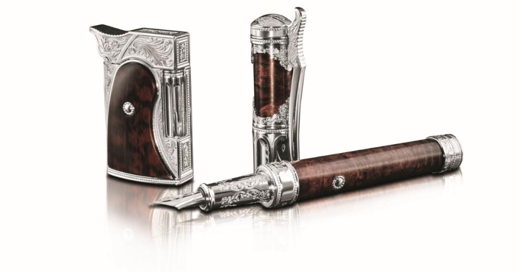 打火機:尺寸: 46X62X19.5mm 型號: 016165/售價: NT$148,000 鋼筆:尺寸:162x18.5mm 型號:141065/售價: NT$144,500