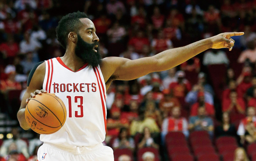 HOUSTON, TX - OCTOBER 28:  James Harden #13 of the Houston Rockets calls a play during their game against the Denver Nuggets at the Toyota Center on October 28, 2015 in Houston, Texas.  (Photo by Scott Halleran/Getty Images)