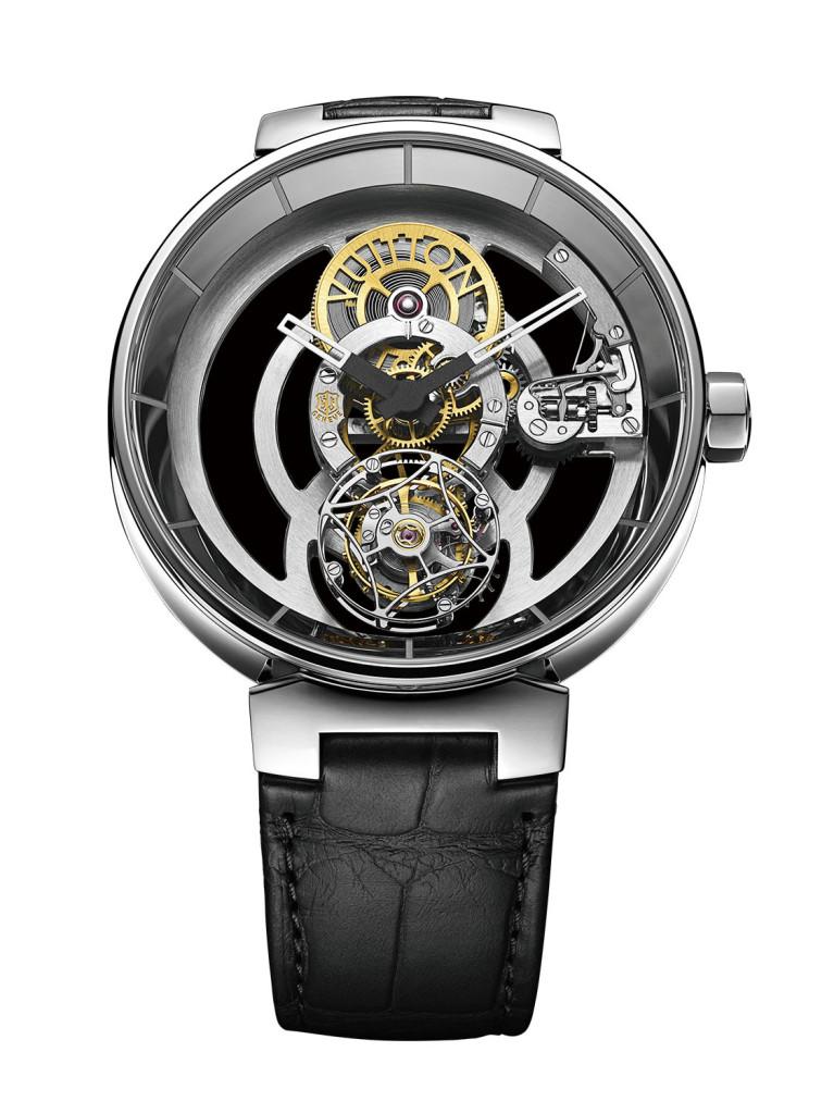 Tambour Moon Tourbillon Valant (Poinçon de Genève) LV獲得日內瓦印記認證的最新錶款,高難度的鏤空陀 飛輪機芯,突顯複雜製錶工藝獲得肯定,並整合時尚 設計風格,是當今LV錶藝的經典之作。 .LV97手上鍊機械機芯 .震頻:每小時21600次 .錶殼直徑42.5毫米 .錶殼厚度9.65毫米 建議售價23萬歐元