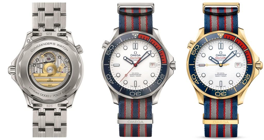 錶殼上波浪圖案旋入式錶背鐫刻了「Commander's Watch」字樣及限量版編號,透明錶背飾以9 毫米子彈、007 及歐米茄標誌的中校徽章條紋自動盤以及機芯編號 錶背中央的9 毫米子彈設計,更突顯007 風格。同時也有全球限量七只 由18K金材質打造的歐米茄海馬系列300米「龐德中校」潛水錶 ,潛水刻度採用Ceragold™瓷金,並設有18K黃金中央秒針。